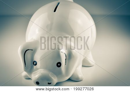White piggy bank on graduated background with vignette effect
