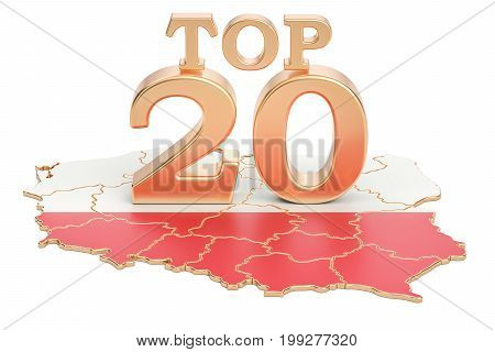 Polish Top 20 concept 3D rendering isolated on white background