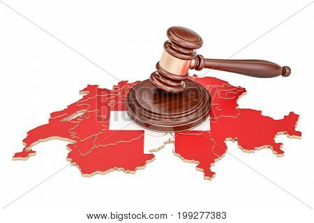 Wooden Gavel on map of Switzerland 3D rendering isolated on white background