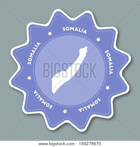 Somalia Map Sticker In Trendy Colors. Star Shaped Travel Sticker With Country Name And Map. Can Be U