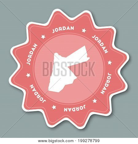 Jordan Map Sticker In Trendy Colors. Star Shaped Travel Sticker With Country Name And Map. Can Be Us