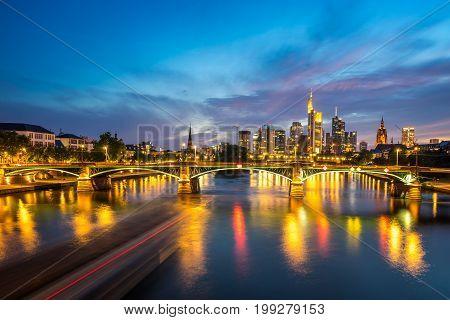 Illuminated Frankfurt Skyline At Night