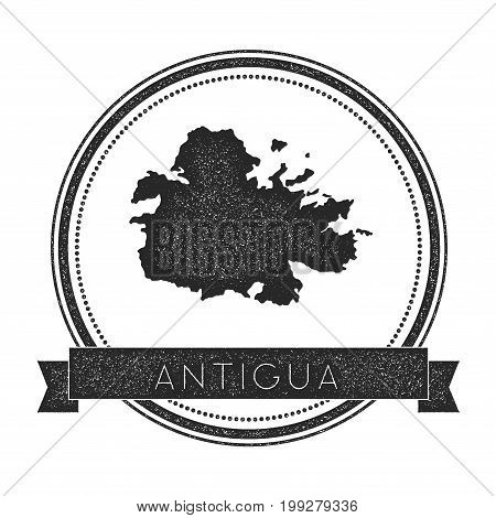 Antigua Map Stamp. Retro Distressed Insignia. Hipster Round Badge With Text Banner. Island Vector Il