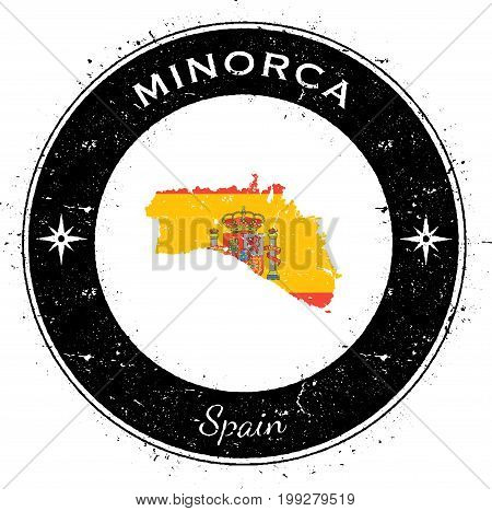 Minorca Circular Patriotic Badge. Grunge Rubber Stamp With Island Flag, Map And Name Written Along C