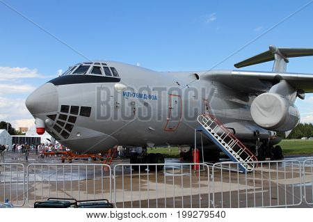 Moscow Region - July 21 2017: Soviet heavy military transport aircraft Il-76MD at the International Aviation and Space Salon (MAKS) in Zhukovsky.