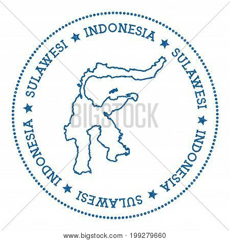 Sulawesi Map Sticker. Hipster And Retro Style Badge. Minimalistic Insignia With Round Dots Border. I