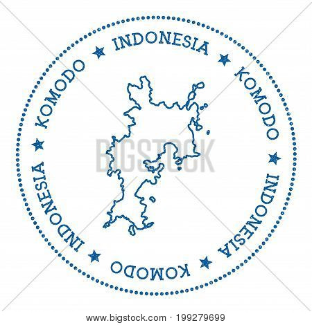 Komodo Map Sticker. Hipster And Retro Style Badge. Minimalistic Insignia With Round Dots Border. Isl