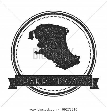 Parrot Cay Map Stamp. Retro Distressed Insignia. Hipster Round Badge With Text Banner. Island Vector