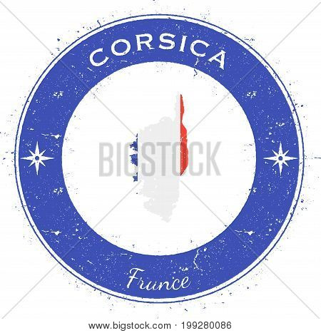 Corsica Circular Patriotic Badge. Grunge Rubber Stamp With Island Flag, Map And Name Written Along C
