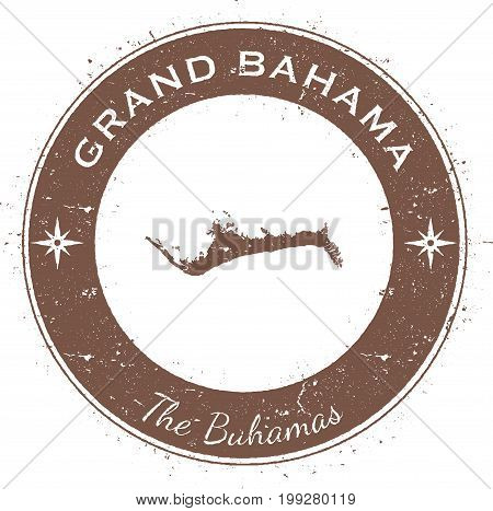 Grand Bahama Circular Patriotic Badge. Grunge Rubber Stamp With Island Flag, Map And Name Written Al