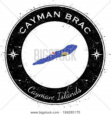 Cayman Brac Circular Patriotic Badge. Grunge Rubber Stamp With Island Flag, Map And Name Written Alo