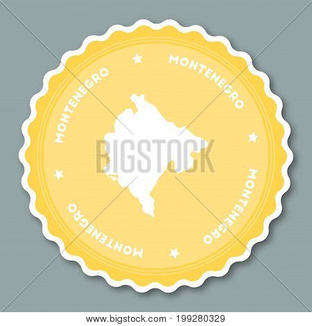 Montenegro Sticker Flat Design. Round Flat Style Badges Of Trendy Colors With Country Map And Name.