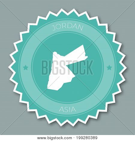 Jordan Badge Flat Design. Round Flat Style Sticker Of Trendy Colors With Country Map And Name. Count