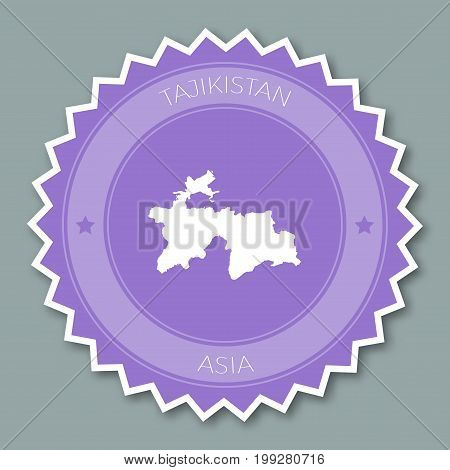 Tajikistan Badge Flat Design. Round Flat Style Sticker Of Trendy Colors With Country Map And Name. C