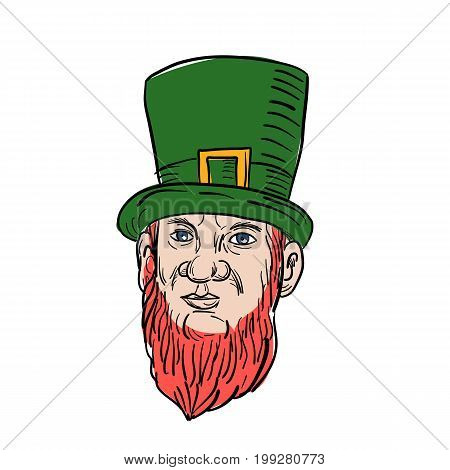 Illustration of a leprechaun a type of fairy in Irish folklore with beard and a top hat done in drawing style.