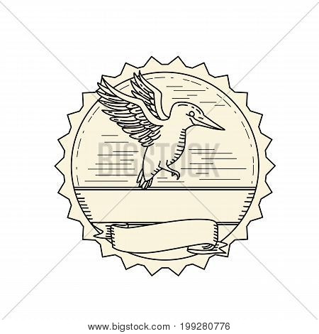 Illustration of a Kingfisher Flying viewed from Side set inside rosette with banner scroll done Monoline line drawring style.