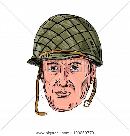 Illustration of a World War Two American Soldier Head viewed from front done in hand sketch Drawing style on isolated background.