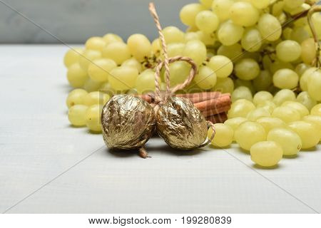 White Grapes, Cinnamon And Walnuts, Side View