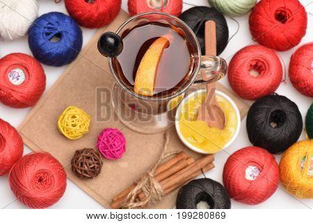 Handmade And Art Concept: Wine, Yarn, Honey And Cinnamon