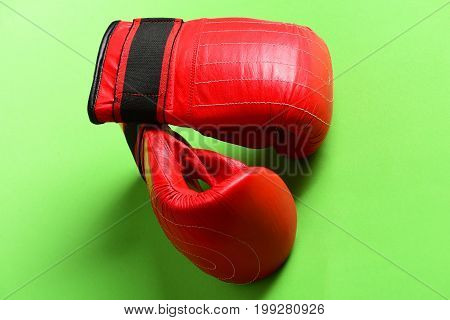 Knock Out And Strong Boxers Punch Concept. Sports Equipment