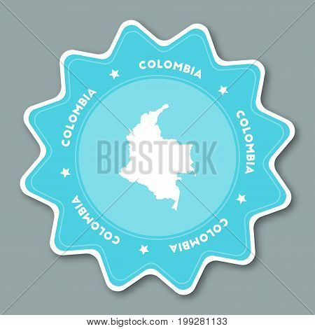 Colombia Map Sticker In Trendy Colors. Star Shaped Travel Sticker With Country Name And Map. Can Be