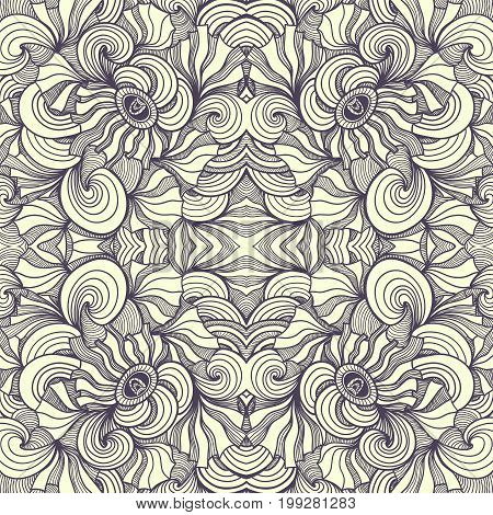 Abstract Zen-doodle seamless pattern black on white for coloring page or relax coloring book or for decoration different things