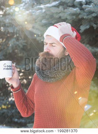Frown Man In Santa Hat