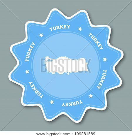Turkey Map Sticker In Trendy Colors. Star Shaped Travel Sticker With Country Name And Map. Can Be Us