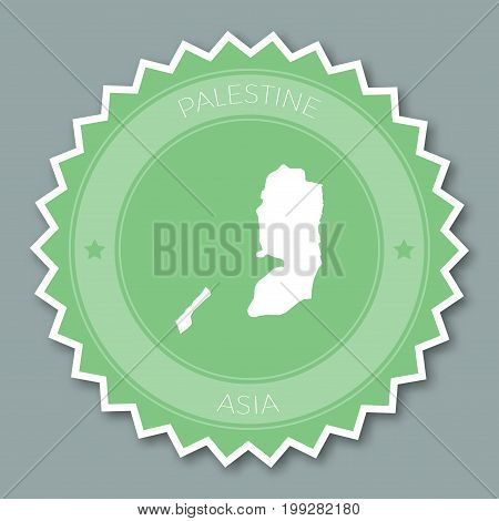 Palestine Badge Flat Design. Round Flat Style Sticker Of Trendy Colors With Country Map And Name. Co