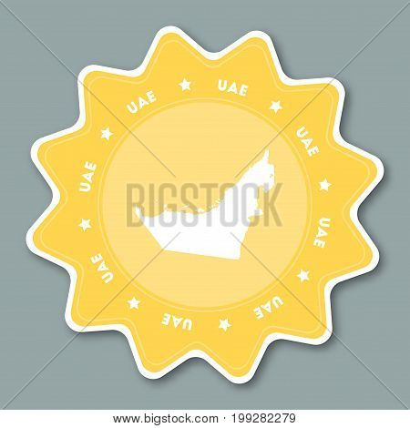 United Arab Emirates Map Sticker In Trendy Colors. Star Shaped Travel Sticker With Country Name And