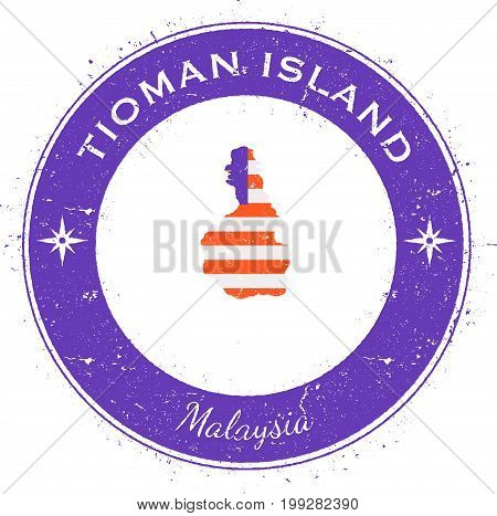 Tioman Island Circular Patriotic Badge. Grunge Rubber Stamp With Island Flag, Map And Name Written A