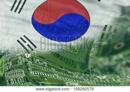 High tech background with South Korea Flag.