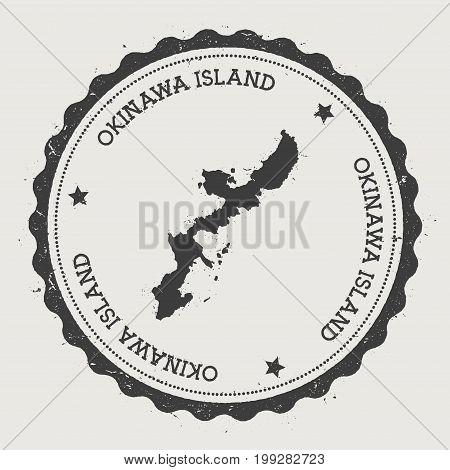 Okinawa Island Sticker. Hipster Round Rubber Stamp With Island Map. Vintage Passport Sign With Circu