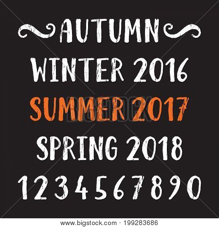 Handwritten grunge lettering of four season Summer, Autumn, Winter, Spring and number. Hand drawn calligraphy lettering for diary, banner, calendar, planner, poster, greeting card. Vector illustration