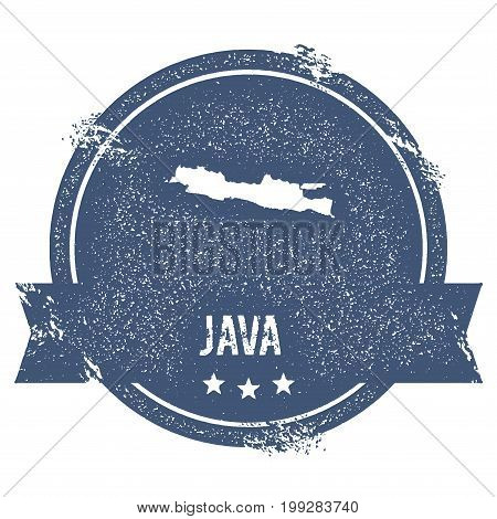 Java Logo Sign. Travel Rubber Stamp With The Name And Map Of Island, Vector Illustration. Can Be Use