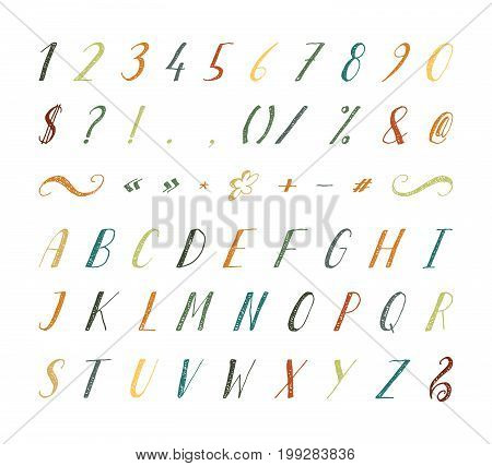 Handwritten italic grunge font with punctuation marks on white background. Uppercase font contains question mark, exclamation point, period, comma, dash, hyphen, bracket etc. Vector illustration.