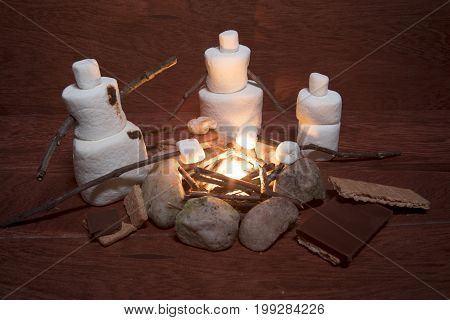 Marshmallow Family Making S'mores Over Campfire