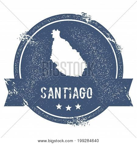 Santiago Island Logo Sign. Travel Rubber Stamp With The Name And Map Of Island, Vector Illustration.
