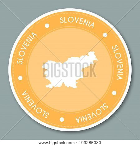 Slovenia Label Flat Sticker Design. Patriotic Country Map Round Lable. Country Sticker Vector Illust