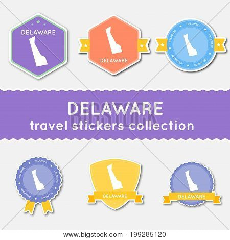 Delaware Travel Stickers Collection. Big Set Of Stickers With Us State Map And Name. Flat Material S