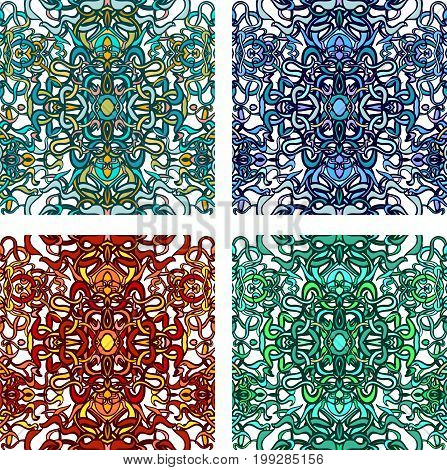Vector set of seamless background with colorful abstract lines of vegetative character in a modern style. Can be used for wallpaper, pattern fills, web page, textures, textile print, wrapping paper