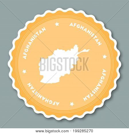 Afghanistan Sticker Flat Design. Round Flat Style Badges Of Trendy Colors With Country Map And Name.