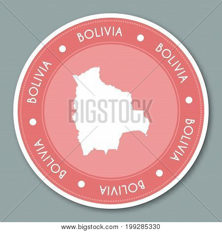 Bolivia Label Flat Sticker Design. Patriotic Country Map Round Lable. Country Sticker Vector Illustr