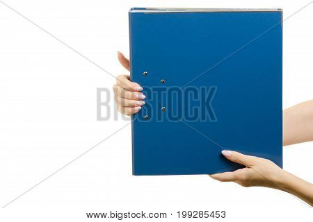 Clerical folder in a female hands on a white background isolation folder registrar