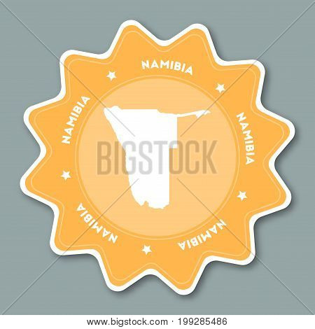 Namibia Map Sticker In Trendy Colors. Star Shaped Travel Sticker With Country Name And Map. Can Be U