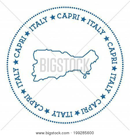 Capri Map Sticker. Hipster And Retro Style Badge. Minimalistic Insignia With Round Dots Border. Isla