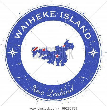 Waiheke Island Circular Patriotic Badge. Grunge Rubber Stamp With Island Flag, Map And Name Written