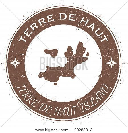 Terre-de-haut Island Circular Patriotic Badge. Grunge Rubber Stamp With Island Flag, Map And Name Wr