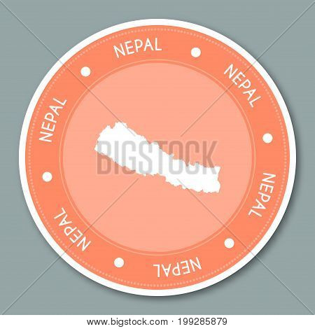 Nepal Label Flat Sticker Design. Patriotic Country Map Round Lable. Country Sticker Vector Illustrat