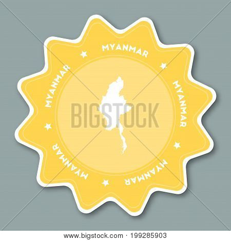 Myanmar Map Sticker In Trendy Colors. Star Shaped Travel Sticker With Country Name And Map. Can Be U